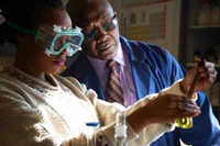 Dr. Urasa pictured with Nigerian Visiting Scientists, conducting research in Hampton lab.