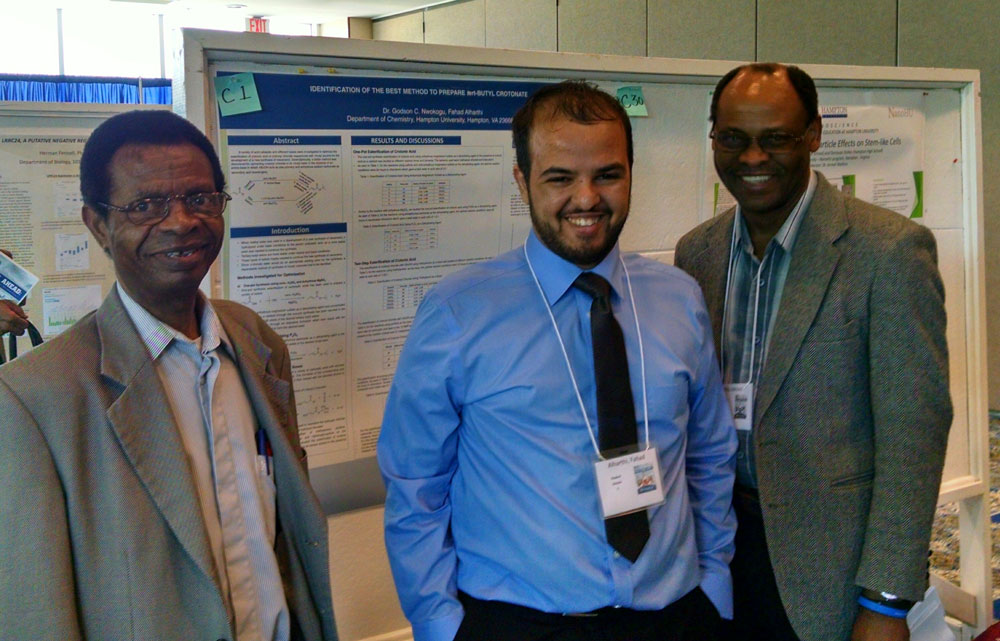 Chemistry graduate student with Drs. Ndip and Nwokogu.